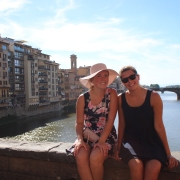 The sister and I on the Ponte Vecchio