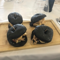 My lunch, calamari sandwiches with bread that was dyed with squid ink