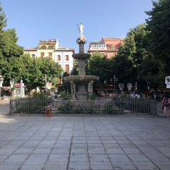 The fountain in the square right by the churro place!