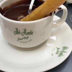 Yes, it's a cup full of melted chocolate to dip the churros in.