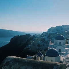 The iconic blue domes of Santorini